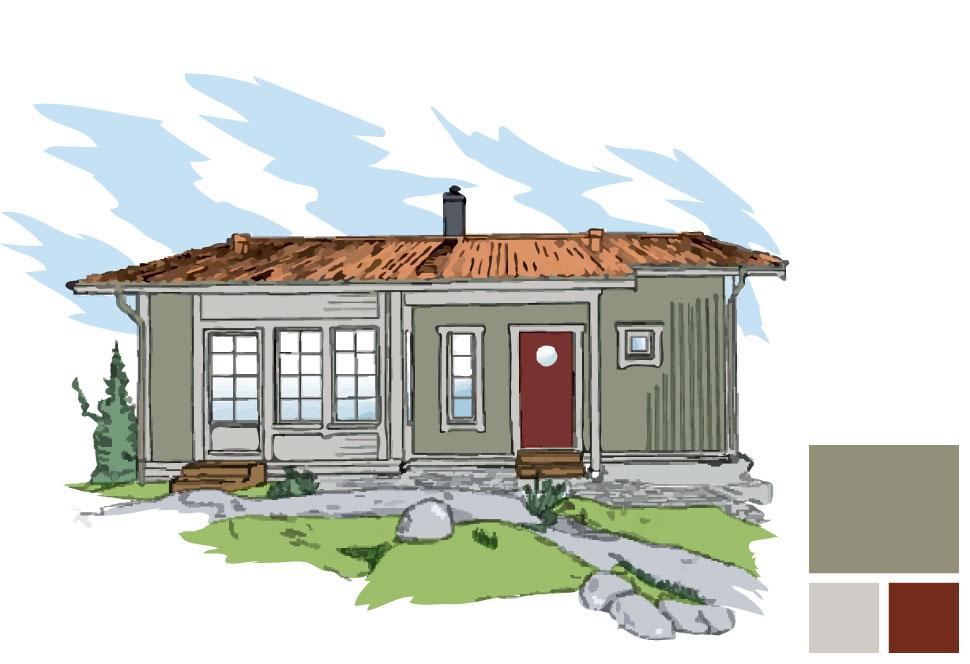 Fasadfärg: 146 Olivlund, Fönster/burspråk: 156 Kobbe, Dörr: Faluröd