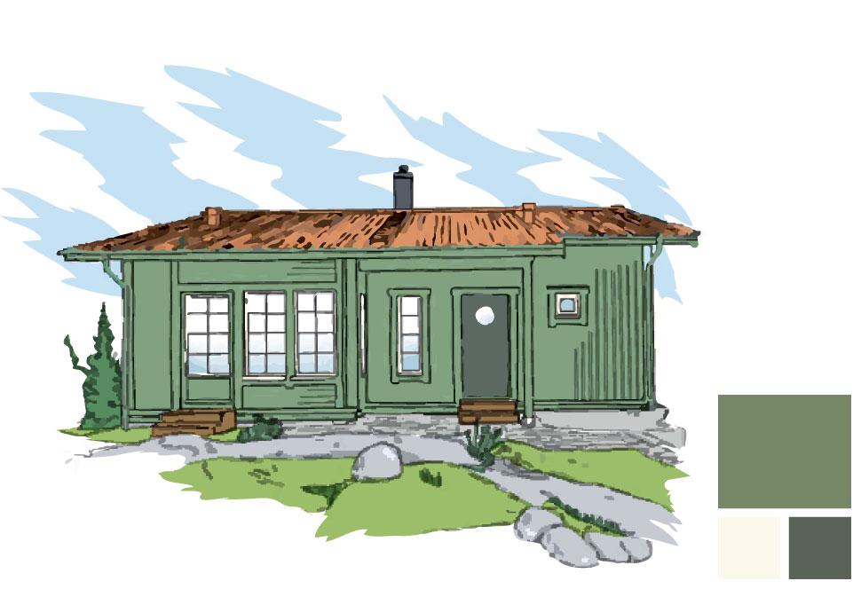 Fasad/burspråk/fönsterfoder: 147 Blad, Fönsterkarm/båge: 101 Äggskal, Dörr: 194 Krokodil