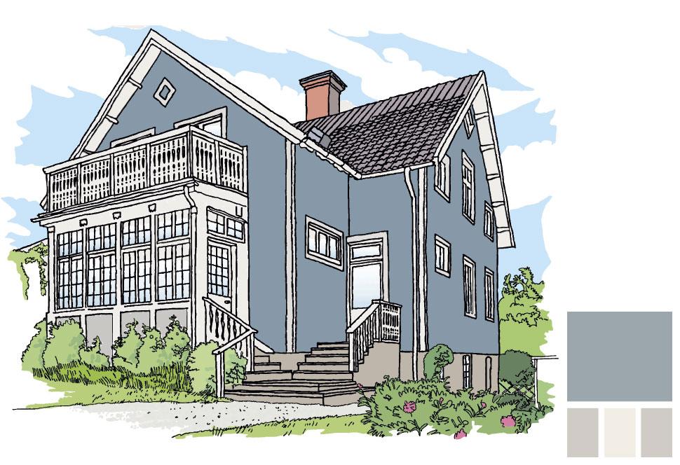 Fasadfärg: 252 Blålera, Putsdetaljer: 256 Kobbe, Fönster och del av veranda: 154 Emalj, Del av veranda: 156 Kobbe