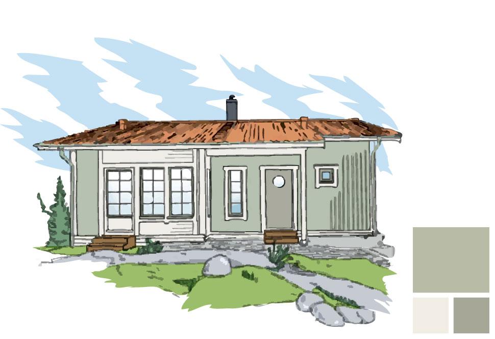 Fasadfärg: 171 Salamander, Fönsterfoder/burspråk: 154 Emalj, Fönsterkarm/båge och dörr: 175 Lav