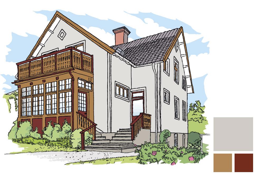 Fasadfärg: 256 Kobbe, Fönster/vindskivor/del av veranda: 162 Knäck, Dörr/del av veranda: Faluröd