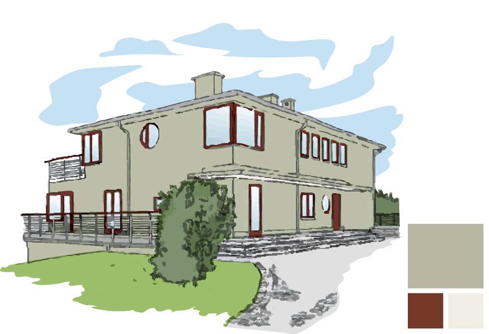 Fasadfärg: 287 Ask, Fönster/dörr/handledare: 163 Rost, Takundersida veranda: 154 Emalj