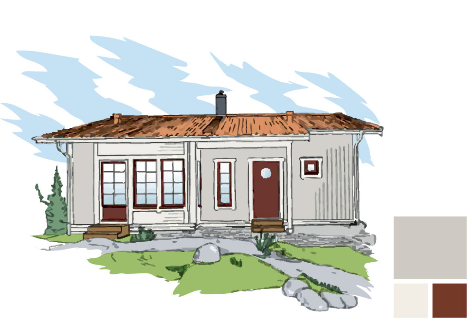 Fasadfärg: 464 Sommarmoln, Fönsterfoder/burspråk: 154 Emalj, Fönsterkarm/båge och dörr: 163 Rost