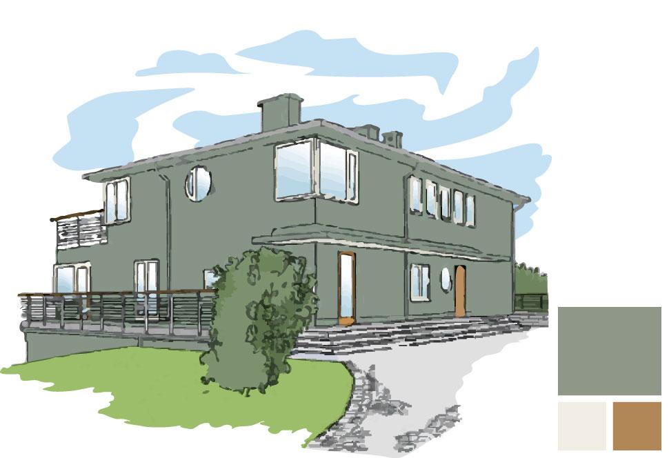 Fasadfärg: 286 Kapris, Fönster/takundersida veranda: 154 Emalj, Dörr/handledare: 162 Knäck alt oljad ek