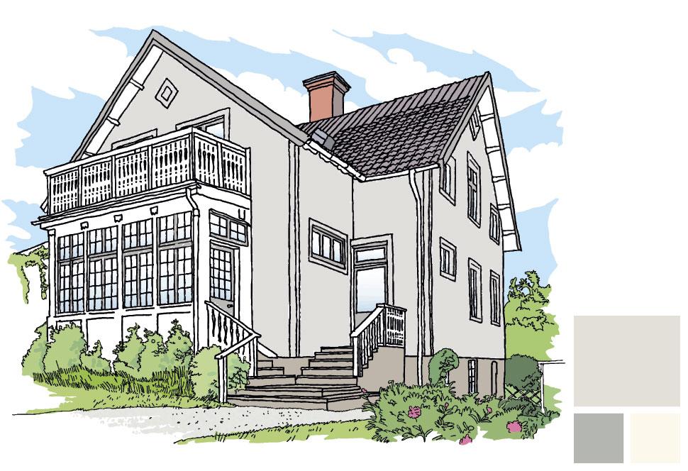 Fasadfärg: 278 Duva, Fönster/vindskivor: 130 Åskmoln, Veranda: 101 Äggskal