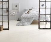 Tarkett Ivory White  dog on bed